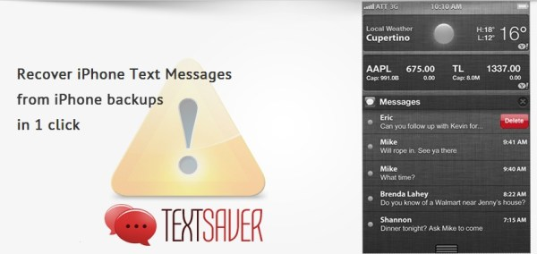Recover SMS from iPhone using Text Saver