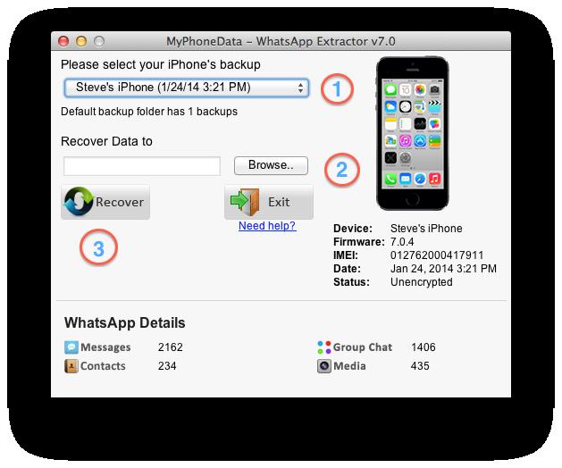 WhatsApp Extractor Steps